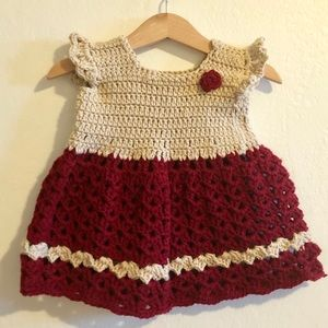 MADE TO ORDER Hand Knit Baby Girl Dress